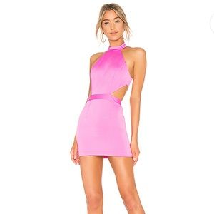 Neon pink backless dress
